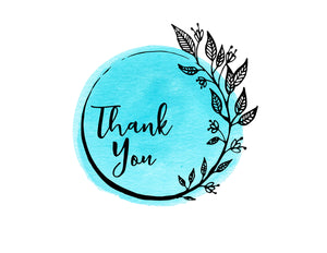 Thank You Notecards Turquoise Watercolor Wreath