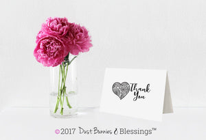 Thank You Notecards Black White Heart Swirls