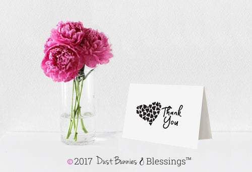 Thank You Notecards Black White Heart in Hearts