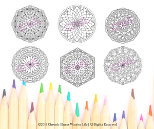 Mandala Art Mental Health Coloring Pages: Set of 30 MHR