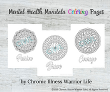 Load image into Gallery viewer, Mental Health Coloring Pages for Depression with Mandalas