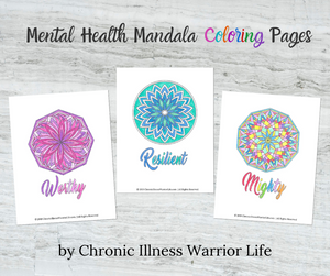 Mandala Art Mental Health Coloring Pages: Set of 30