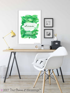 Inspirational Modern Wall Art: Dream Green Acrylic