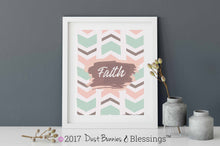 "Load image into Gallery viewer, NATURAL: ""Faith"" Mint Green and Pink Inspirational Modern Wall Art"