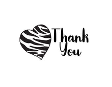 Load image into Gallery viewer, Thank You Notecards Black White Zebra Print Heart