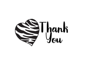 Thank You Notecards Black White Zebra Print Heart