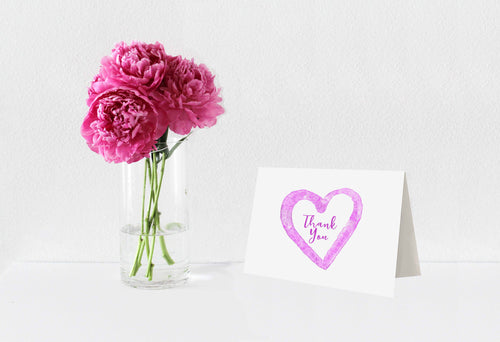Thank You Notecards Fuchsia Watercolor Heart