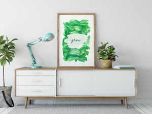 Inspirational Modern Wall Art: Grow Green Acrylic