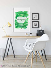 Load image into Gallery viewer, Inspirational Modern Wall Art: Imagine Green Acrylic