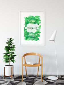 Inspirational Modern Wall Art: Imagine Green Acrylic