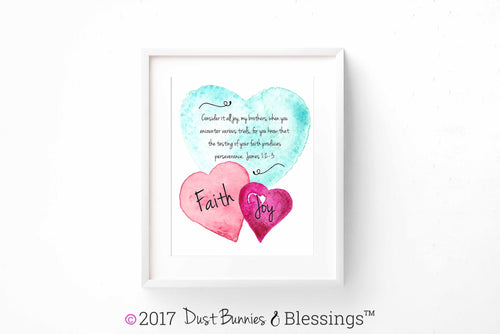 WATERCOLOR HEARTS: Bible Verse Art - James 1:2-3