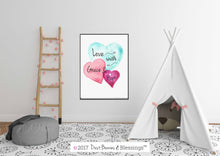 Load image into Gallery viewer, WATERCOLOR HEARTS: Love with Grace & Hope Inspirational Wall Art