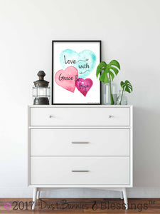 WATERCOLOR HEARTS: Love with Grace & Hope Inspirational Wall Art