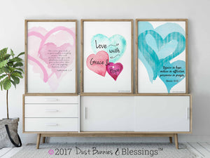 WATERCOLOR HEARTS: Turquoise Bible Verse Art - Romans 12:12
