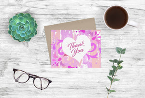 Thank You Printable Stationary Notecards: Pink Swirls