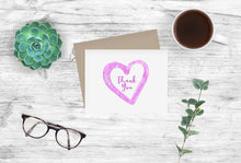 Load image into Gallery viewer, Thank You Notecards Fuchsia Watercolor Heart
