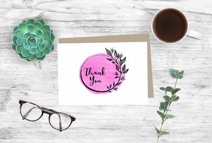 Thank You Notecards Fuchsia Watercolor Wreath