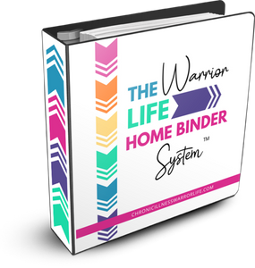 standing binder that says the warrior life home binder system