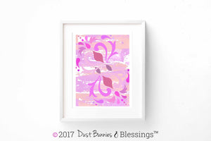 VIBRANT:  Swirls of Pink Modern Wall Art