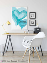 Load image into Gallery viewer, WATERCOLOR HEARTS: Turquoise Bible Verse Art - Romans 12:12