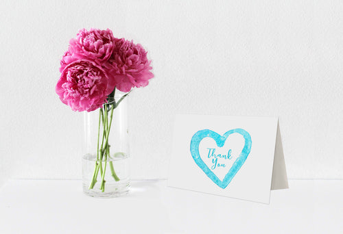 Thank You Notecards Turquoise Watercolor Heart