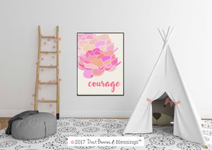 "SERENITY PRAYER:  ""Courage"" Inspirational Wall Art"