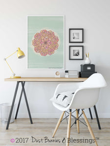"NATURAL: ""Mandala"" Green, Pink, and Brown Inspirational  Modern Wall Art"