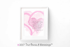 WATERCOLOR HEARTS: Bible Verse Wall Art - Zephaniah 3:13