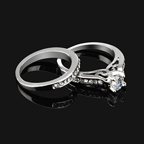Womens Cubic Zircon Diamond Ring Set - Size 6 - AM823