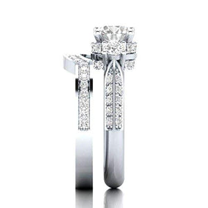Womens White Diamond Silver Engagement Wedding Band Ring Set - Size 8 - AM387