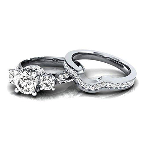 Womens White Diamond Silver Engagement Wedding Band Ring Set - Size 7 - AM387