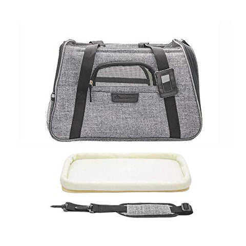 Abbey Daily Deals, Comfy Pet Carrier - Airline Approved,Foldable Pet Travel Bag Small Cat Puppy Mesh Windows Fleece Padding Airplane,Car,Train,Gray, Top Pet Carriers - Abbey Daily Deals - Abbeyshoppingplaza.com Shopify
