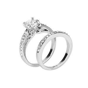 Womens Cubic Zircon Diamond Ring Set - Size 8 - AM823