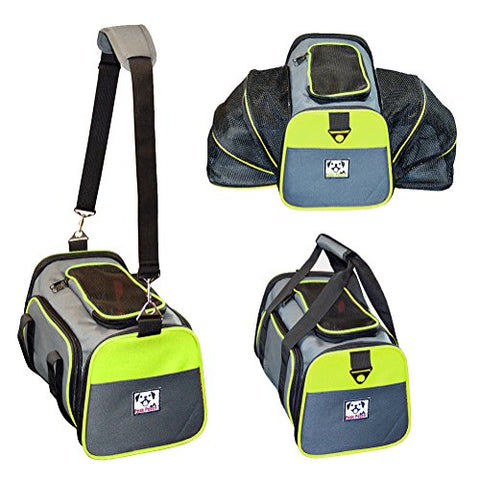 Image of Abbey Daily Deals, Expandable Foldable Airline Approved Pet Carrier - Charcoal / Green Trim - Medium, Top Pet Carriers - Abbey Daily Deals - Abbeyshoppingplaza.com Shopify