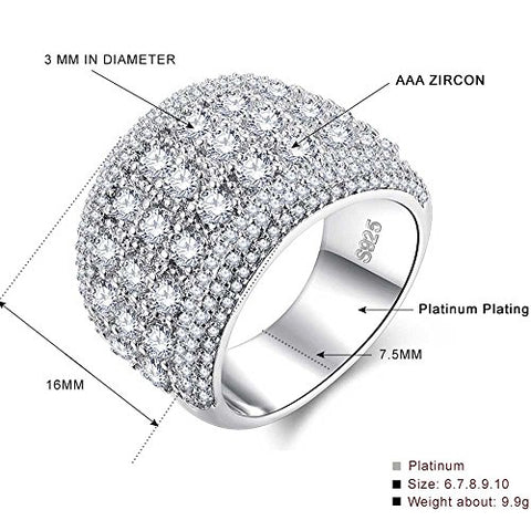 Womens 18k White Gold Plated Cubic Zirconia Ring Size 7 - AM0421