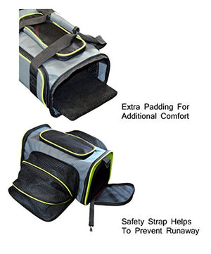 Expandable Foldable Airline Approved Pet Carrier - Charcoal / Green Trim - Medium