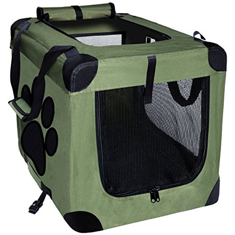 Abbey Daily Deals, Collapsible Foldable Pet Carrier - Indoor/Outdoor - Medium - Green, Top Pet Carriers - Abbey Daily Deals - Abbeyshoppingplaza.com Shopify