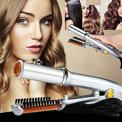 Top Rated Professional 3in 1 2-Way Hot Iron Hair Rotating Curling Brush Curler Straightener, beauty - Abbey Daily Deals - Abbeyshoppingplaza.com