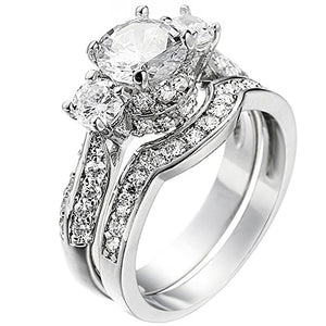 Women's Princess Cut 3 Cubic Zirconia Platinum Silver Plated Ring Size 8- AM321