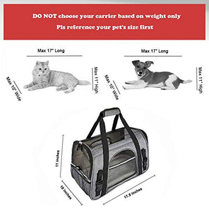 Comfy Pet Carrier - Airline Approved,Foldable Pet Travel Bag Small Cat Puppy Mesh Windows Fleece Padding Airplane,Car,Train,Gray