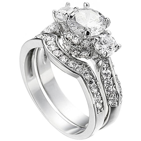 Women's Princess Cut 3 Cubic Zirconia Platinum Silver Plated Ring Size 6- AM321