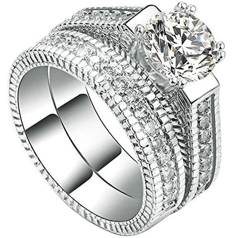Womens 2 PCS 18K White Gold Plated Princess Cut Solitaire CZ Wedding Ring - Size 6 - AM842