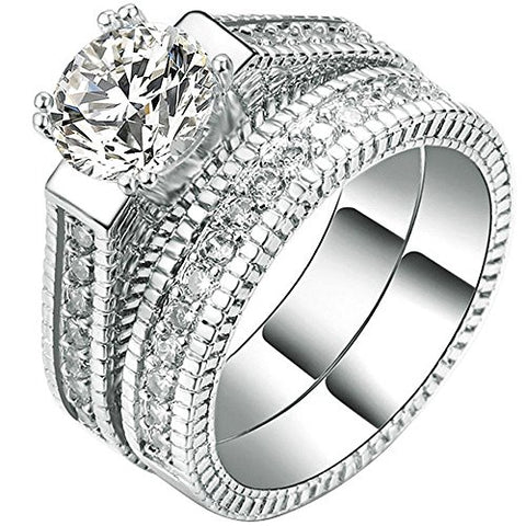 Womens 2 PCS 18K White Gold Plated Princess Cut Solitaire CZ Wedding Ring - Size 9 - AM842