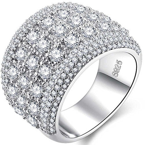 Womens 18k White Gold Plated Cubic Zirconia Ring Size 6 - AM0421