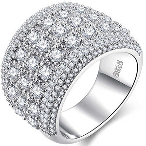 Womens 18k White Gold Plated Cubic Zirconia Ring Size 9 - AM0421