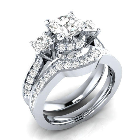 Womens White Diamond Silver Engagement Wedding Band Ring Set - Size 6 - AM387