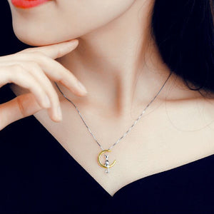 Lovely Cat Moon Pendant Necklace