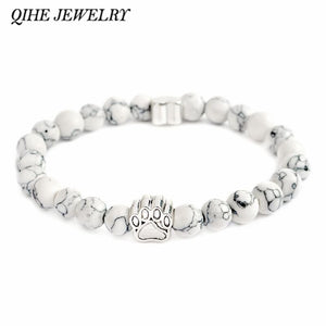 Abbey, Antique Silver Paw Charm Stone Bracelet - Pet Memorial, Specialty Jewelry - Abbey Daily Deals - Abbeyshoppingplaza.com Shopify