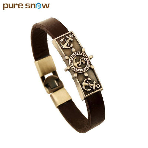 Top Quality Punk Brown Cowhide Leather Bracelets & Bangles, Classic Men Bracelets - Abbey Daily Deals - Abbeyshoppingplaza.com