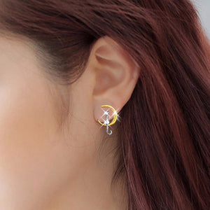 Charming, Lovely Cat Sit On The Moon Earrings